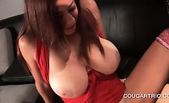 Stockinged busty lesbo cougars sharing double dildo
