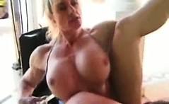 Bizarre mature amateur blonde milf muscle babe body builder