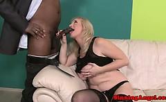 Bigtit blonde mature rides on black cock