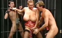 Plump mistress with massive knockers gets pounded by the prisoners