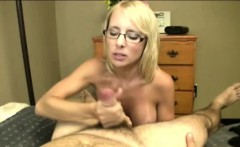 Blonde spex milf feasting on hard cock