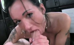 Fake taxi driver gives anal creampie to brunette