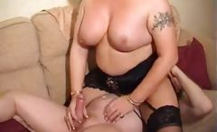 Mature blonde BBW gets pictures taken and blows and gets nailed for facial