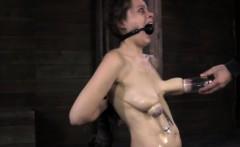 Nipple suction punishment for gagged sub
