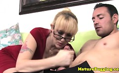 Big titted MILF toying with dick