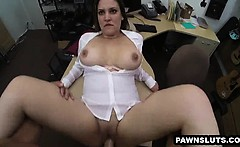 Busty brunette babe gets fucked at the pawn shop
