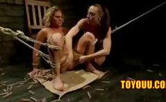 Blonde slave is tied and bound and gets tortured and licked