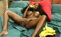 Black Beauty Masturbates With A Banana