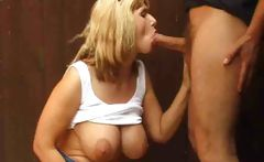 British Josephine James Gives A Blowjob In The Garden