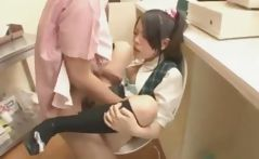Cute Japanese schoolgirls play and then get their pussies drilled
