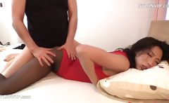Skinny Japanese broad in black nylons gets banged  and eats semen