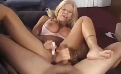 Busty blonde babe Leslie gives head, titty fucks, bangs, and toys pussy