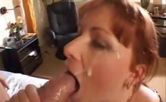 Busty Red Heads Takes A Load In Her Face