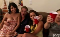 Three horny and wild babes gets banged in this sex orgy