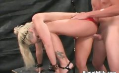Extra looking blonde hooker has big tits