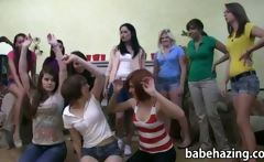 Three girls been punished with spanking and strapon fucking