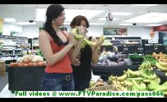 Rita and Madeline gorgeous leasbians public flashing tits and kissing