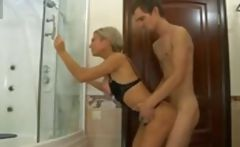 Blonde Russian mom interrupts son-in-law in the shower and gets banged  