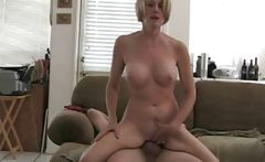 Mature blonde amateur Melanie slur[s on hubby&#039;s cock and gets nailed 