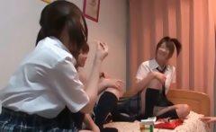 Asian teen schoolgirls playing sex games in college room