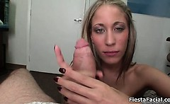 Busty blonde babe gets horny jerking